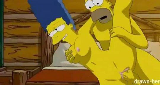 Гомер Симпсон выебал жену с силиконовыми сиськами по полной программе