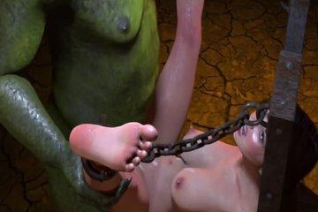 Зеленый тролль ебет красивую самку человека огромным болтом
