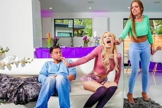 Блондинка Britney Amber трахается со своей сестрой и новым хахалем