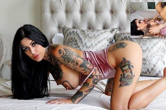 Идеальная брюнетка в татуировках Janey Doe безумно умелая в сексе